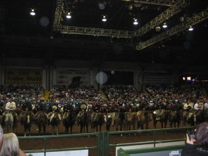 All the cowboys lined up for the beginning of the ranch rodeo