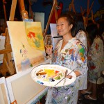 August: Painting at Raw Canvas with the girls