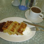 Cheese blintzes and coffee